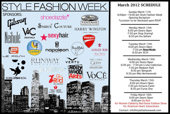 style fashion week march 2012 schedule revealed lafw